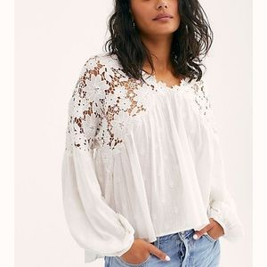 NWT Free People Lina Lace Top, S, white